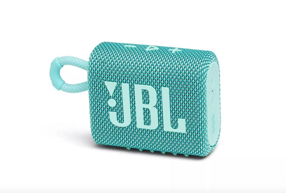 <p>The dust-proof, waterproof <span>JBL Go3 Wireless Speaker</span> ($40) can fit into their pocket or as a keychain on any bike, backpack, or water bottle. Even though it's tiny, it packs a powerful sound with punchy deep bass. It has up to five hours of battery life per charge. It also comes in black.</p>
