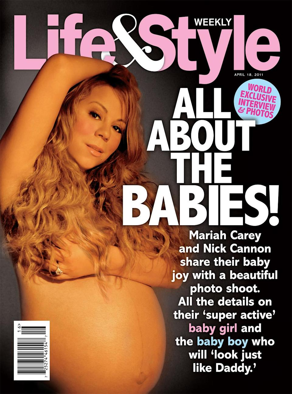 <p>Mariah Carey on the cover of<em> Life & Style Weekly</em>, 2011 </p>