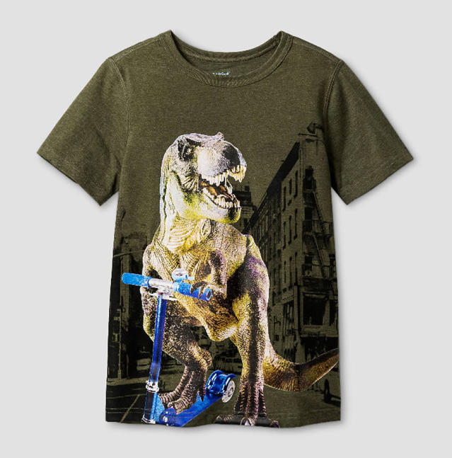 A dinosaur T-shirt from Target's Cat & Jack sensory-friendly line. (Photo: Target)