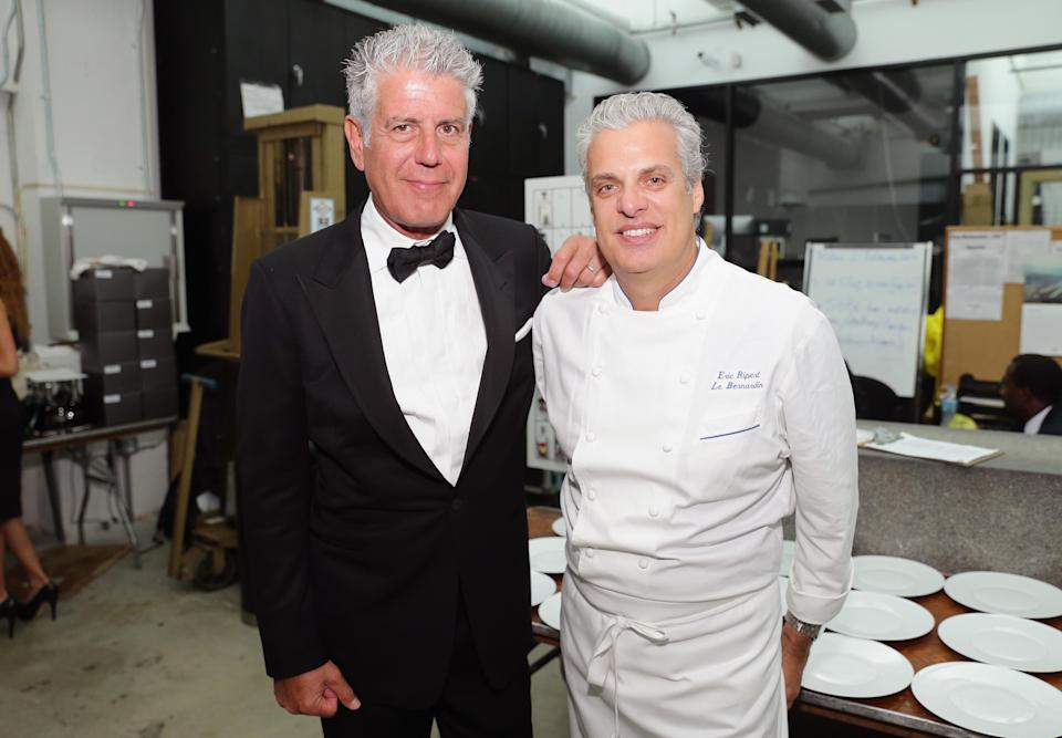 Anthony Bourdain and Eric Ripert during the Food Network South Beach Wine & Food Festival on Feb. 21, 2014, in Miami Beach, Florida. (Photo: Getty Images)