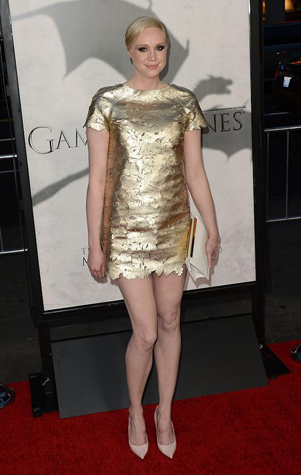 "Gwendoline Christie arrives at the premiere of HBO's ""Game of Thrones"" Season 3 at TCL Chinese Theatre on March 18, 2013 in Hollywood, California."
