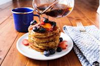 """<p>The flavor and texture are totally bananas! </p><p>Get the recipe from <a href=""""https://www.delish.com/cooking/recipe-ideas/a25350983/best-paleo-pancake-recipe/"""" rel=""""nofollow noopener"""" target=""""_blank"""" data-ylk=""""slk:Delish"""" class=""""link rapid-noclick-resp"""">Delish</a>.</p>"""