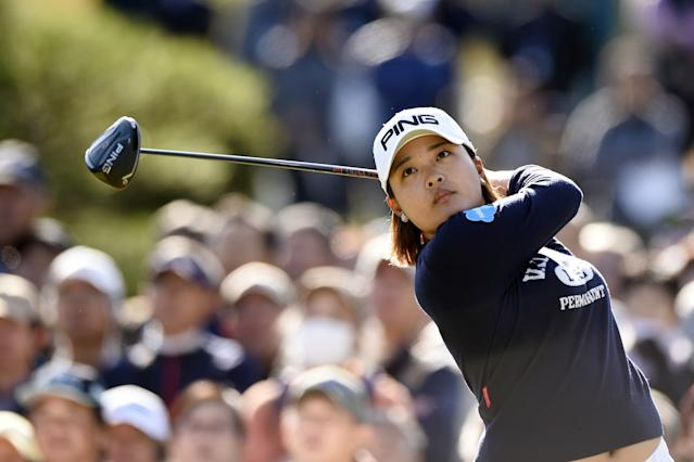 """<h1 class=""""title"""">ai suzuki TOTO Japan Classic - Final Round</h1> <div class=""""caption""""> Ai Suzuki hits her tee shot on the first hole during the final round of the 2019 TOTO Japan Classic. </div> <cite class=""""credit"""">Matt Roberts/Getty Images</cite>"""