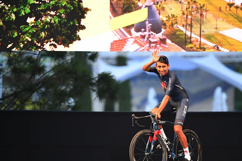 Defending Tour de France champion Egan Bernal (Ineos Grenadiers) waves to the crowd at the teams presentation in Nice