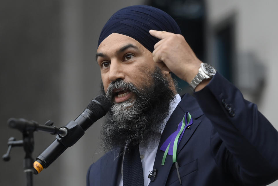 <p>NDP Leader Jagmeet Singh points to his turban as he speaks about racism during a speech at a vigil for the victims of the deadly vehicle attack on five members of the Canadian Muslim community in London, Ont., on Tuesday, June 8, 2021. Four of the members of the family died and one is in critical condition. Police have charged a London man with four counts of murder and one count of attempted murder. THE CANADIAN PRESS/Nathan Denette</p>