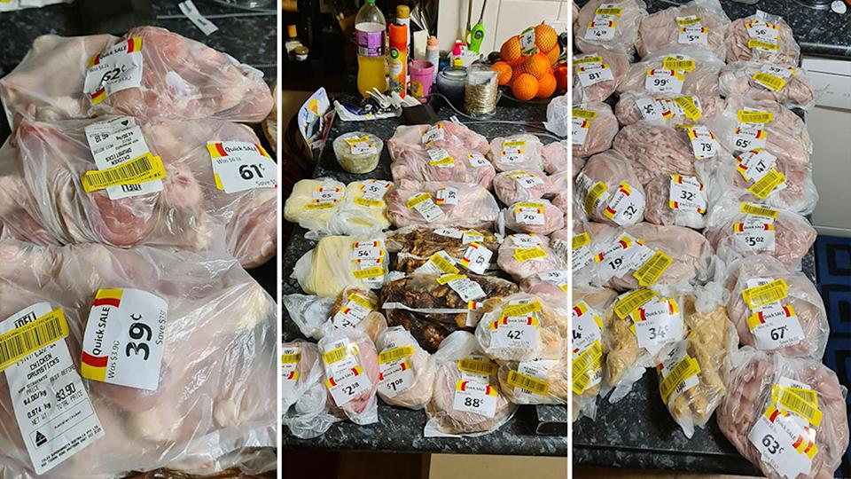 Pictured are three shots of all the meat the woman managed to get at Coles for just $23, usually it would cost over $300.