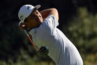 Xander Schauffele tees off during the final round of the CJ Cup golf tournament at Shadow Creek Golf Course, Sunday, Oct. 18, 2020, in North Las Vegas. (AP Photo/David Becker)