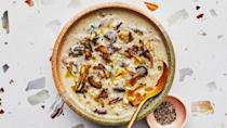 "Okay, we waited until now to mention that this creamy, earthy, silky rich soup is vegan. Puréeing some of the mushrooms along with cashews adds body that doesn't compromise on flavor. <a href=""https://www.bonappetit.com/recipe/creamy-ish-of-mushroom-soup?mbid=synd_yahoo_rss"" rel=""nofollow noopener"" target=""_blank"" data-ylk=""slk:See recipe."" class=""link rapid-noclick-resp"">See recipe.</a>"