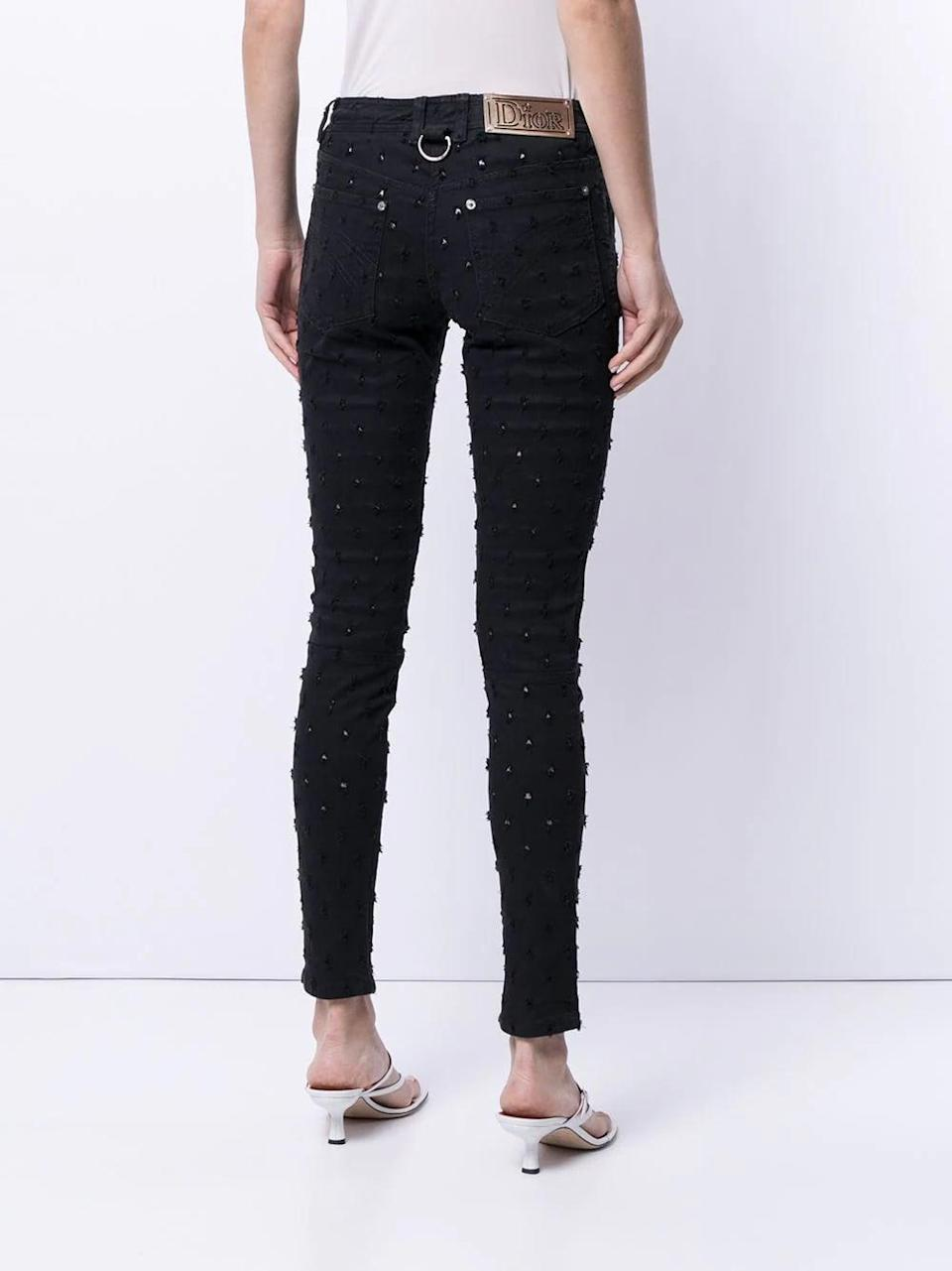 <p>Though you may find yourself quickly on the verge of splurging, Farfetch's Pre-Owned section includes some really beautiful pieces from the archives, like these <span>Christian Dior Embroidered Skinny Jeans</span> ($605).</p>