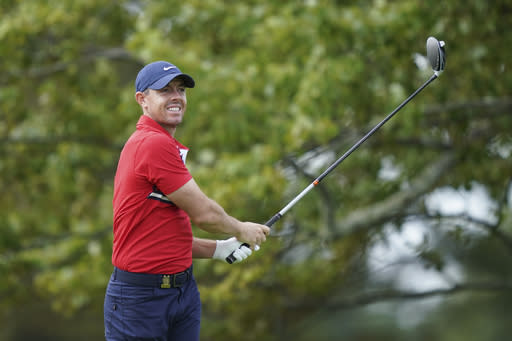 Rory McIlroy practices before the U.S. Open Championship golf tournament, Monday, Sept. 14, 2020, at the Winged Foot Golf Club in Mamaroneck, N.Y. (AP Photo/John Minchillo)
