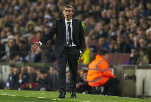 BARCELONA, SPAIN - DECEMBER 18: Ernesto Valverde, Manager of Barcelona reacts during the Liga match between FC Barcelona and Real Madrid CF at Camp Nou on December 18, 2019 in Barcelona, Spain. (Photo by Quality Sport Images/Getty Images)