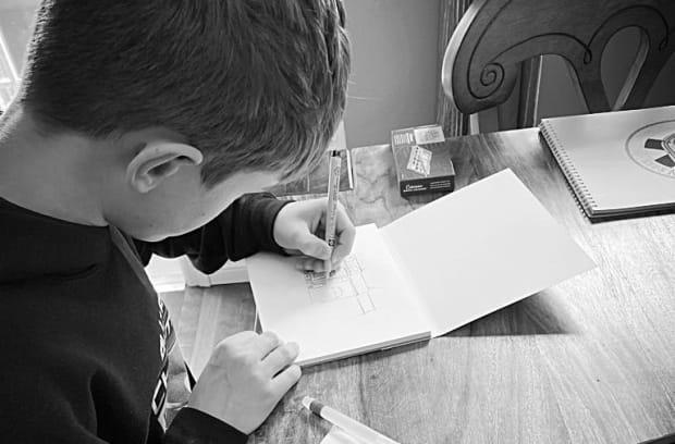 Carter Noseworthy, 12, of Halifax is using his free time in lockdown to teach himself a new skill – watercolour painting. (Submitted by Colleen Wade Noseworthy - image credit)
