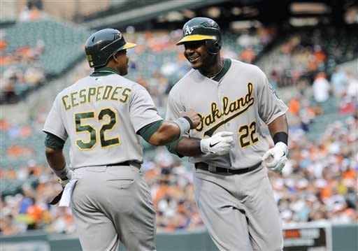 Oakland Athletics' Chris Carter (22) smiles with Yoenis Cespedes (52) after Carter hit a two-run home run against the Baltimore Orioles during the first inning of a baseball game, Friday, July 27, 2012, in Baltimore. (AP Photo/Nick Wass)