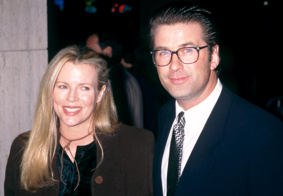 """CENTURY CITY, CA - JANUARY 29: Actress Kim Basinger and husband, actor Alec Baldwin attend """"The Juror"""" Century City Premiere on January 29, 1996 at the Cineplex Odeon Century Plaza Cinemas in Century City, California. (Photo by Ron Davis/Getty Images)"""