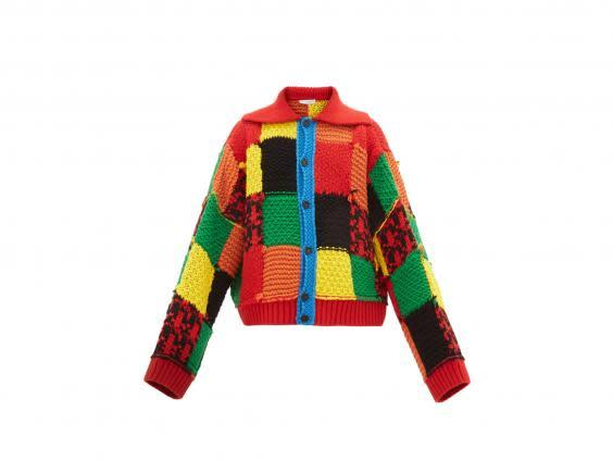 This colourful, patchwork cardigan was made popular after singer Harry Styles was seen wearing it (JW Anderson)