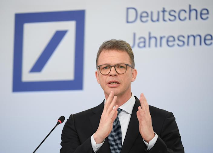 Christian Sewing, management board chairman of Deutsche Bank, pictured at the annual media conference at the bank's headquarters on 30 January 2020, Hessen, Frankfurt/Main. Photo: Arne Dedert/picture alliance via Getty Images