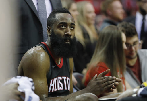 """James Harden's hamstring strain puts <a class=""""link rapid-noclick-resp"""" href=""""/nba/players/3930/"""" data-ylk=""""slk:Chris Paul"""">Chris Paul</a> in the driver's seat of a high-octane unit. (Photo by Tim Warner/Getty Images)"""