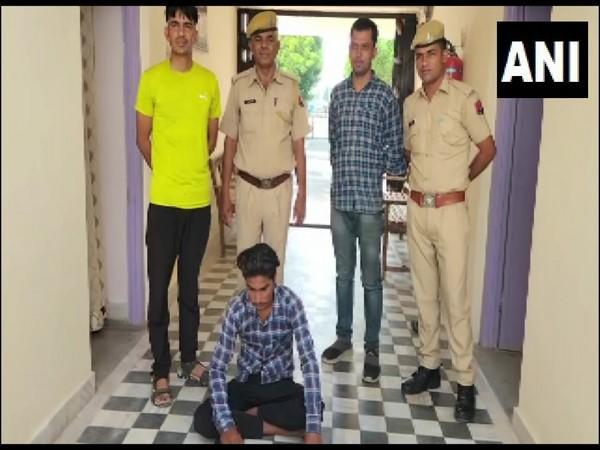 Nagaur Police with one of the accused arrested in a gang rape case. (Photo/ANI)