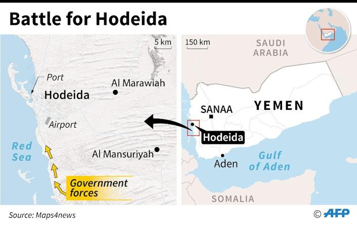 Map of Yemen locating the port of Hodeida, which governmental forces are trying to retake from Huthi rebels. (AFP Photo/William ICKES)