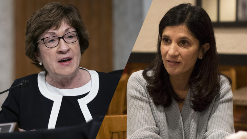 U.S. Sen. Susan Collins (R-ME)/Sara Gideon (Alex Edelman-Pool/Getty Images; Brianna Soukup/Portland Press Herald via Getty Images)