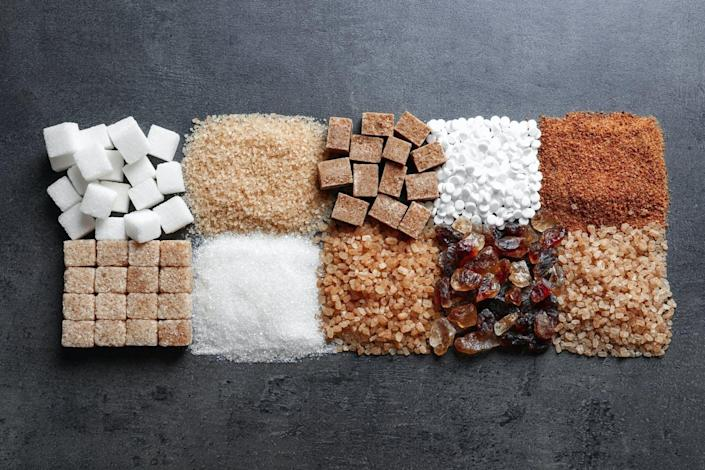 """<span class=""""caption"""">Sugar and artificial sweeteners comes in many shapes and colors.</span> <span class=""""attribution""""><a class=""""link rapid-noclick-resp"""" href=""""https://www.shutterstock.com/image-photo/flat-lay-composition-different-types-sugar-1057731923?studio=1"""" rel=""""nofollow noopener"""" target=""""_blank"""" data-ylk=""""slk:New Africa/Shutterstock.com"""">New Africa/Shutterstock.com</a></span>"""