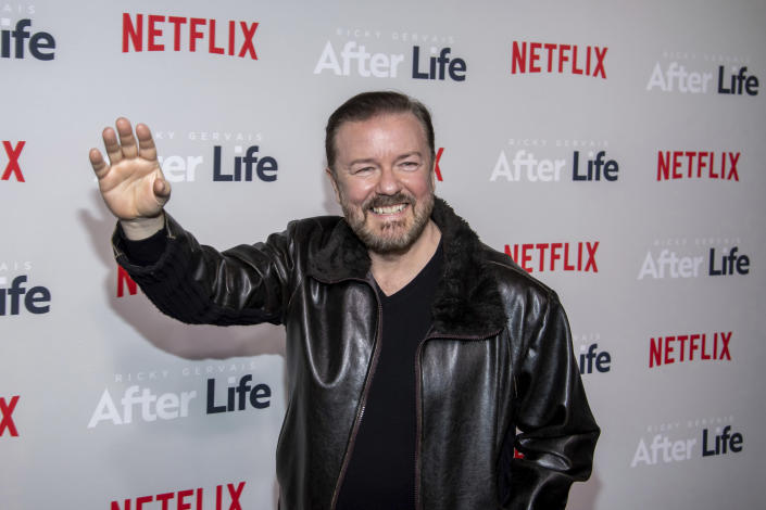 """FILE - Ricky Gervais attends a screening of Netflix's """"After Life"""" on March 7, 2019, in New York. Gervais turns 60 on June 25. (Photo by Charles Sykes/Invision/AP, File)"""