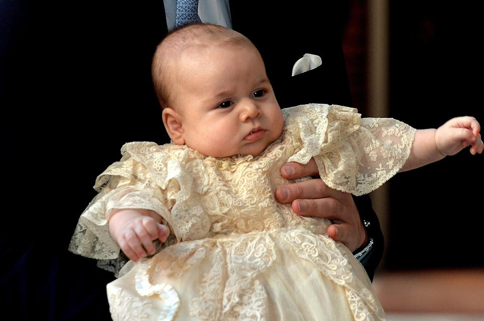 Prince George wore the replica gown at his christening on 23 October 2013 at St James' Palace [Photo: Getty]