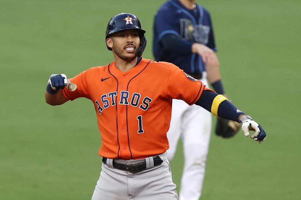 Carlos Correa and the Houston Astros have forced a Game 7 against the Rays in the ALCS. (Photo by Ezra Shaw/Getty Images)