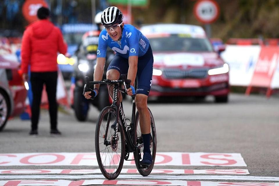 ALTO DE LA FARRAPONA LAGOS DE SOMIEDO SPAIN  OCTOBER 31 Arrival  Marc Soler Gimenez of Spain and Movistar Team  Disappointment  during the 75th Tour of Spain 2020 Stage 11 a 170km stage from Villaviciosa to Alto de La Farrapona Lagos de Somiedo 1708m  lavuelta  LaVuelta20  La Vuelta  on October 31 2020 in Alto de La Farrapona Lagos de Somiedo Spain Photo by David RamosGetty Images
