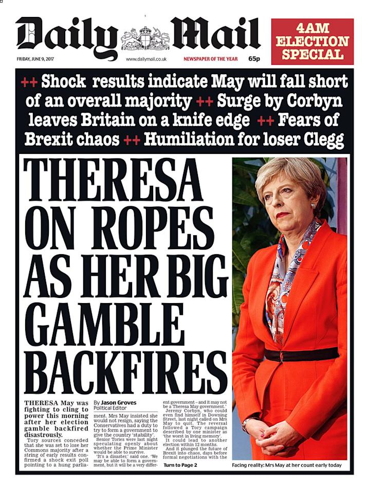 <p>Following a controversial front page on Thursday, the Mail says that May's gamble to call a snap election has backfired </p>