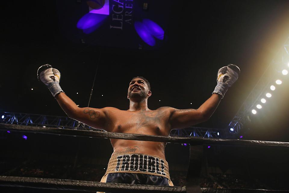 BIRMINGHAM, AL - FEBRUARY 25: Dominic Breazeale celebrates his victory over Izu Uogonoh in a heavyweight bout at Legacy Arena at the BJCC on February 25, 2017 in Birmingham, Alabama.  (Photo by David A. Smith/Getty Images)
