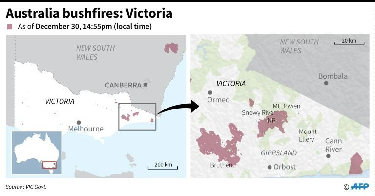 Map of Australia's state of Victoria showing the active fires as of December 30