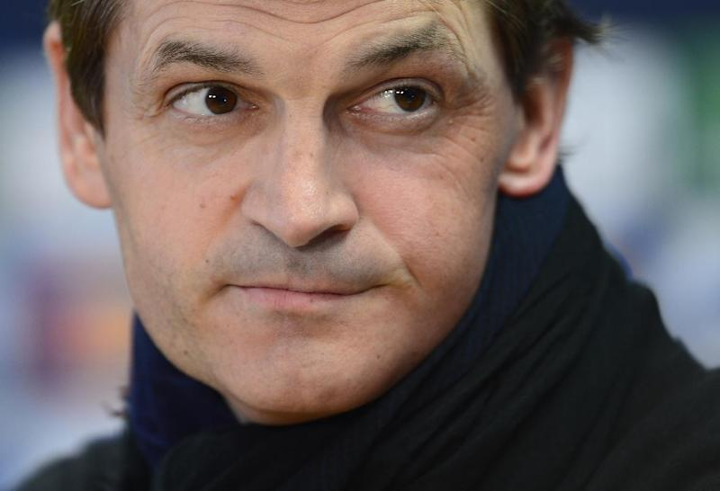 In this April 30, 2013 file photo, FC Barcelona's coach Tito Vilanova attends a press conference at the Sports Center FC Barcelona Joan Gamper in San Joan Despi, Spain. FC Barcelona announced on their web page Friday April 25, 2014 that Vilanova has died after a long battle against cancer. He previously stepped down as coach when he became seriously ill and was unable to continue