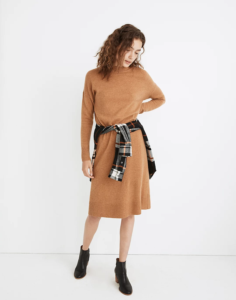 """<br><br> (Re)sourced Cashmere Mockneck Midi Sweater Dress, $, available at <a href=""""https://go.skimresources.com/?id=30283X879131&url=https%3A%2F%2Ffave.co%2F2JbAEzz"""" rel=""""nofollow noopener"""" target=""""_blank"""" data-ylk=""""slk:Madewell"""" class=""""link rapid-noclick-resp"""">Madewell</a>"""