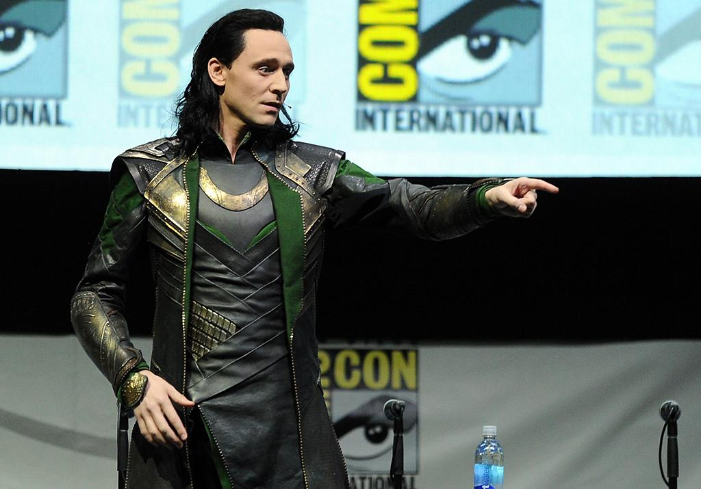 "SAN DIEGO, CA - JULY 20:  Actor Tom Hiddleston speaks onstage at Marvel Studios ""Thor: The Dark World"" and ""Captain America: The Winter Soldier"" during Comic-Con International 2013 at San Diego Convention Center on July 20, 2013 in San Diego, California.  (Photo by Kevin Winter/Getty Images)"