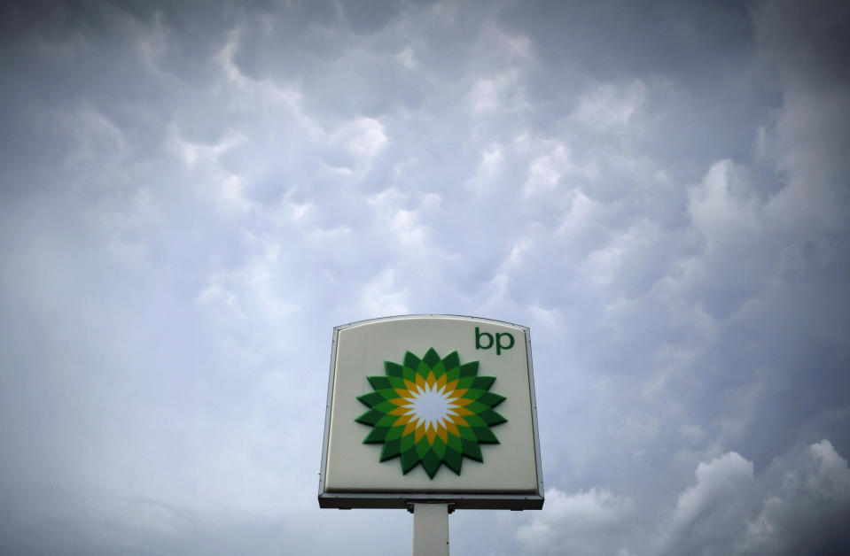 Storm clouds form near a BP station in Alexandria, Virginia,US. Photo: Molly Riley/Reuters