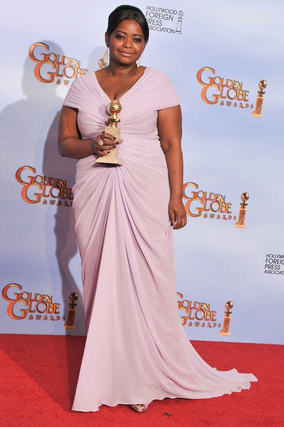 """<p>Oscar-winner Spencer spoke out about the difficulty of finding a designer to dress her for the Golden Globe Awards back in 2012, even though she was a nominee (and eventual winner) on the night.</p><p>""""I'm just a short, chubby girl<span class=""""redactor-invisible-space"""">,"""" the actress told reporters at the Palm Springs Festival (via <em><span>People</span></em>). """"It's hard for me to find a dress to wear to something like this. It's a lot of pressure, I'll tell you. No designers are coming to me.""""</span></p><p><span class=""""redactor-invisible-space""""><span class=""""redactor-invisible-space"""">She eventually wore a lilac Tadashi Shoji gown (pictured), and later joked: """"Maybe I should have sworn off peanut butter last year instead of this year<span class=""""redactor-invisible-space"""">."""" </span></span></span>Never. </p>"""