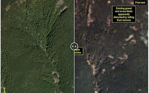 This before-and-after images courtesy of Planet, show a closer view of the Punggye-ri test site - Credit: AFP