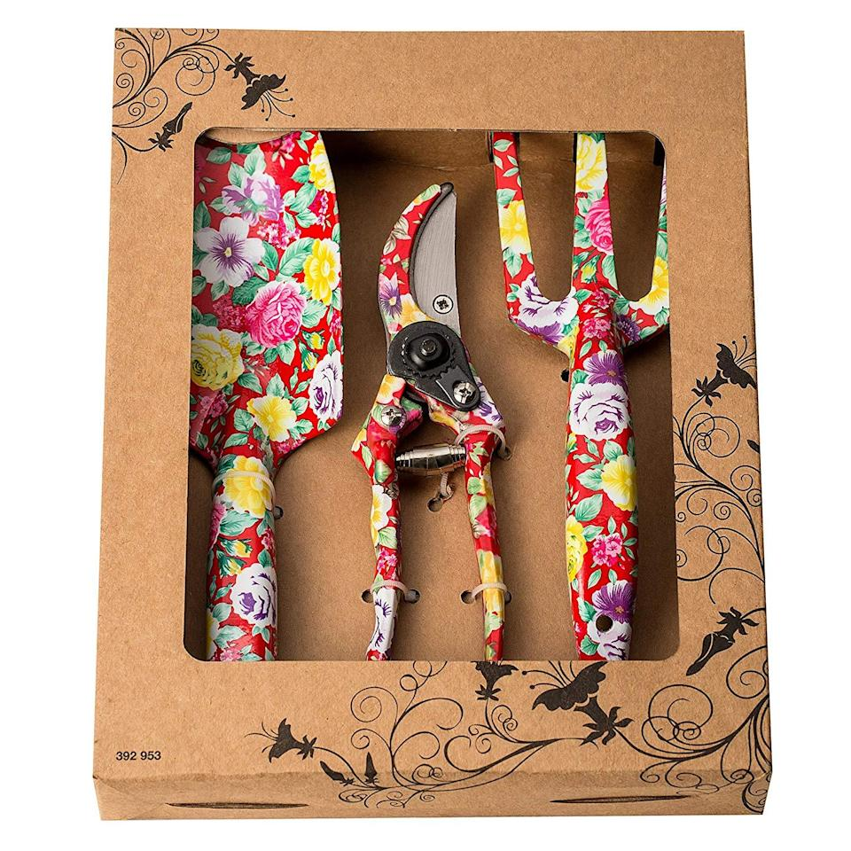 """<h3>Floral Gardening Set</h3><br>This vibrant yet functional trowel, cultivator, and pruning-shear set is pretty enough to put on display as home decor.<br><br><strong>Rating:</strong> 4.4 out of 5 stars, and 48 reviews<br><br><strong>A Satisfied Customer Review: </strong>""""Love it already! Sturdy, heavy-duty material. Very pretty and I can tell it will last for years. I was long overdue for some new gardening tools. I'm going to be doing LOTS of gardening this year, so these will be put to good use,"""" to, """"Bought this for my mom who is into gardening. She thought it was really cute!""""<br><br><strong>FLORA GUARD</strong> Aluminum Garden Tool Set, $, available at <a href=""""https://www.amazon.com/dp/B073DXXCBY/ref=cm_gf_aU3_i2_d_bt30_c0_qd0__________________2gPQUkewWK99QVMZYBIc?"""" rel=""""nofollow noopener"""" target=""""_blank"""" data-ylk=""""slk:Amazon"""" class=""""link rapid-noclick-resp"""">Amazon</a>"""