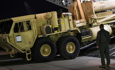 A Terminal High Altitude Area Defense (THAAD) interceptor arrives at Osan Air Base in Pyeongtaek