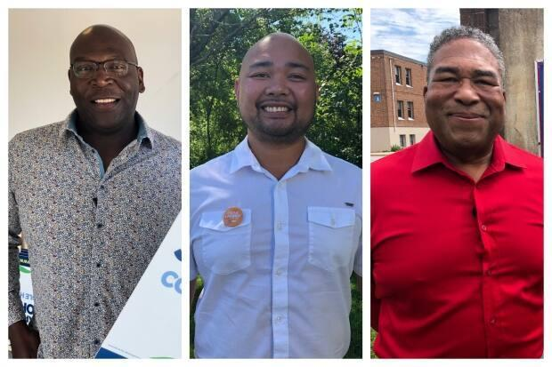 From left to right: the Progressive Conservative candidate Darryl Johnson, NDP candidate Jerome Lagmay, and Liberal candidate Tony Ince. All are running in the Cole Harbour riding. Christoher Kinnie (not pictured) is running for the Atlantica Party.  (Mark Crosby/CBC - image credit)