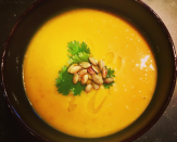 """<p>A great versatile autumn ingredient, you can do all sorts with butternut squash. Eat it roasted or go one step further and make into a vibrant, warming soup, like this recipe from <a href=""""https://www.jamieoliver.com/recipes/vegetables-recipes/superb-squash-soup-with-the-best-parmesan-croutons/"""" rel=""""nofollow noopener"""" target=""""_blank"""" data-ylk=""""slk:Jamie Oliver"""" class=""""link rapid-noclick-resp"""">Jamie Oliver</a> [Photo: Instagram/ranideconinck]. </p>"""
