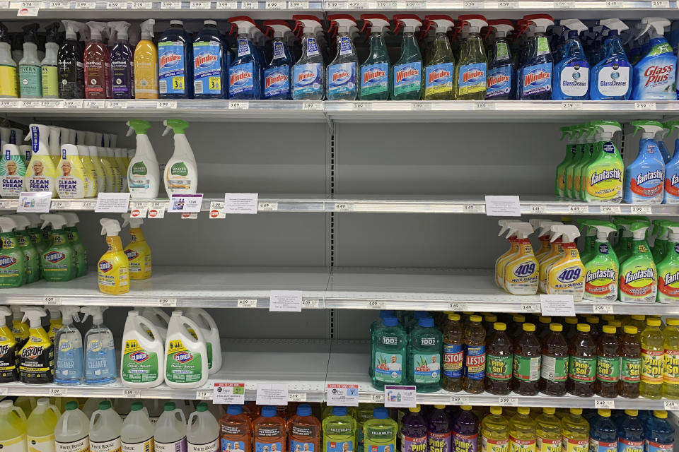 Empty shelves of cleaning supplies are seen at a Publix Supermarket amid concern over the COVID-19 virus on Monday, March 9, 2020, in Pembroke Pines, Fla. (AP Photo/Brynn Anderson)