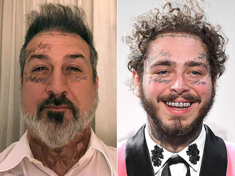 Post Malone Before His Tattoos: Post Fatone? Joey Fatone Gets Face Tattoo Makeover With