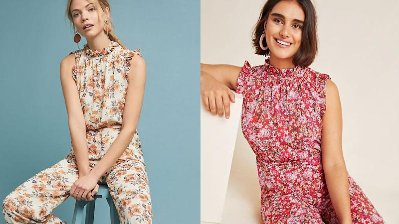 Jump into style with this floral ensemble.