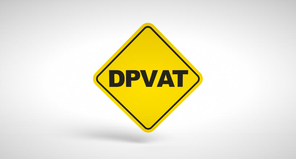 """DPVAT, mandatory insurance tax for drivers in Brazil. Conceptual logo """"DPVAT"""" written inside a traffic sign on white background."""