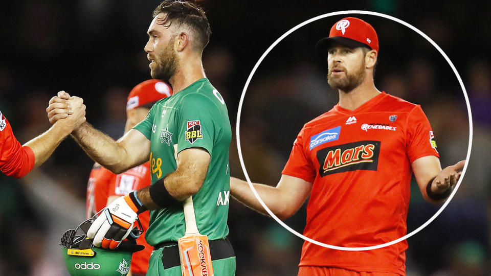 Dan Christian, pictured here speaking with Glenn Maxwell after the match.