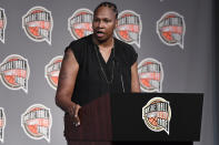 Class of 2021 inductee Yolanda Griffith speaks at a news conference for the Basketball Hall of Fame, Friday, Sept. 10, 2021, at Mohegan Sun in Uncasville, Conn. (AP Photo/Jessica Hill)