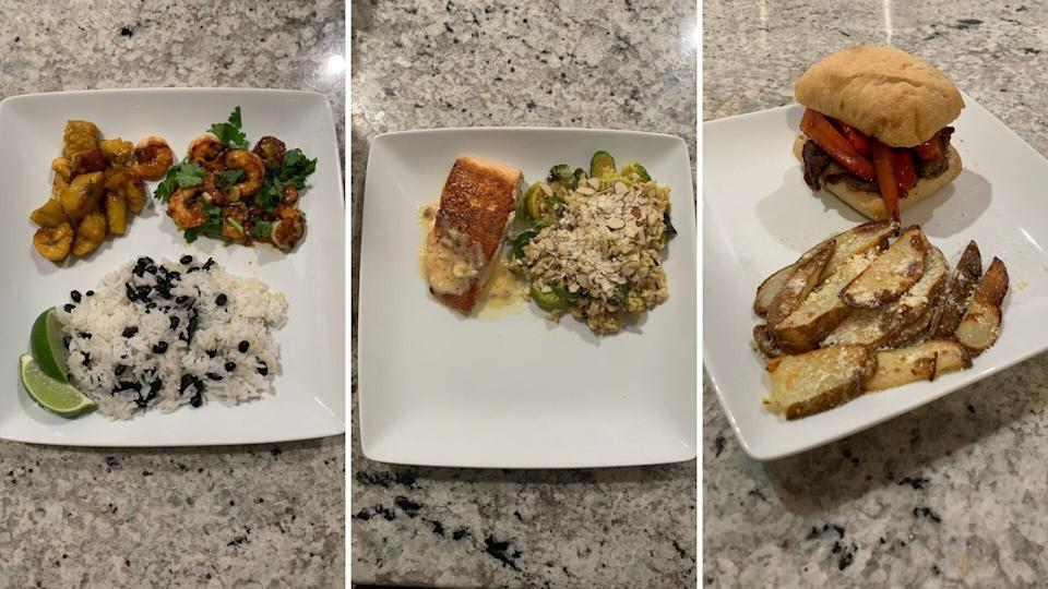 Danielle's Home Chef meals (left to right):mojo shrimp and plantain rice bowl; salmon and brown butter Hollandaise risotto;ciabatta steak sandwich with bacon aioli and parmesan potato wedges. (Photo: Danielle Gonzalez / HuffPost Finds)