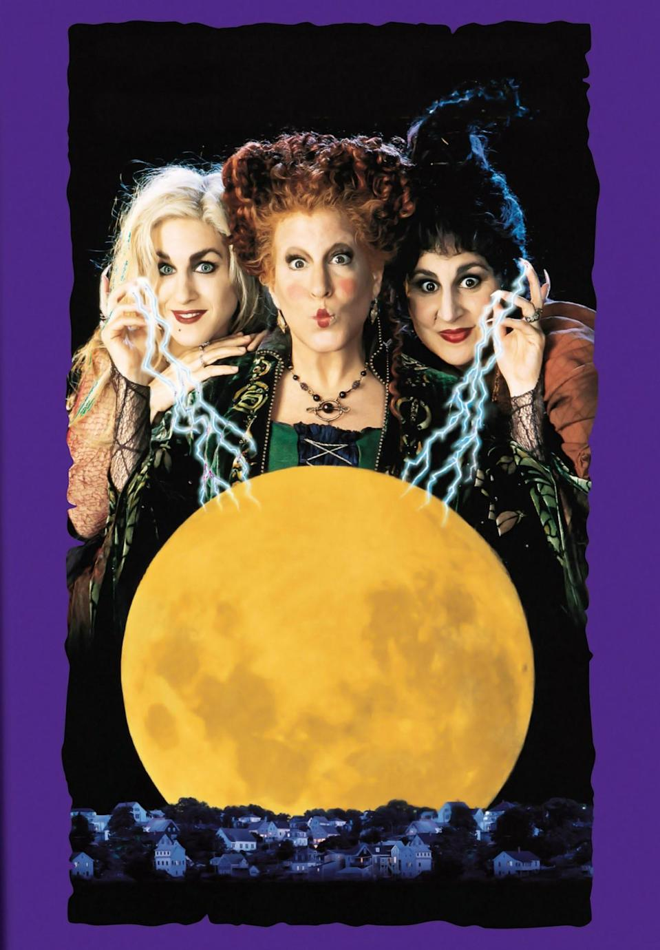 <p>This cult comedy film — starring Bette Midler, Sarah Jessica Parker, and Kathy Najimy— is about a trio of Salem witches from 1693, the Sanderson Sisters, who get resurrected by a virgin (yes, a virgin) in the 20th century. They are horrified to find out that Halloween has become a holiday. <i>(Source: Everett Collection)</i></p>